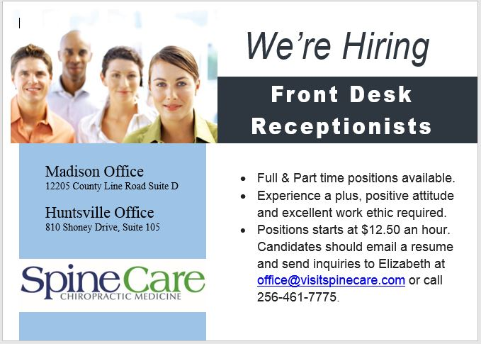 We're Hiring Front Desk